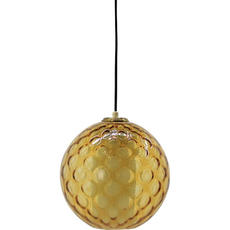 Vintage yellow pendant lamp from Czechoslovakia 1960