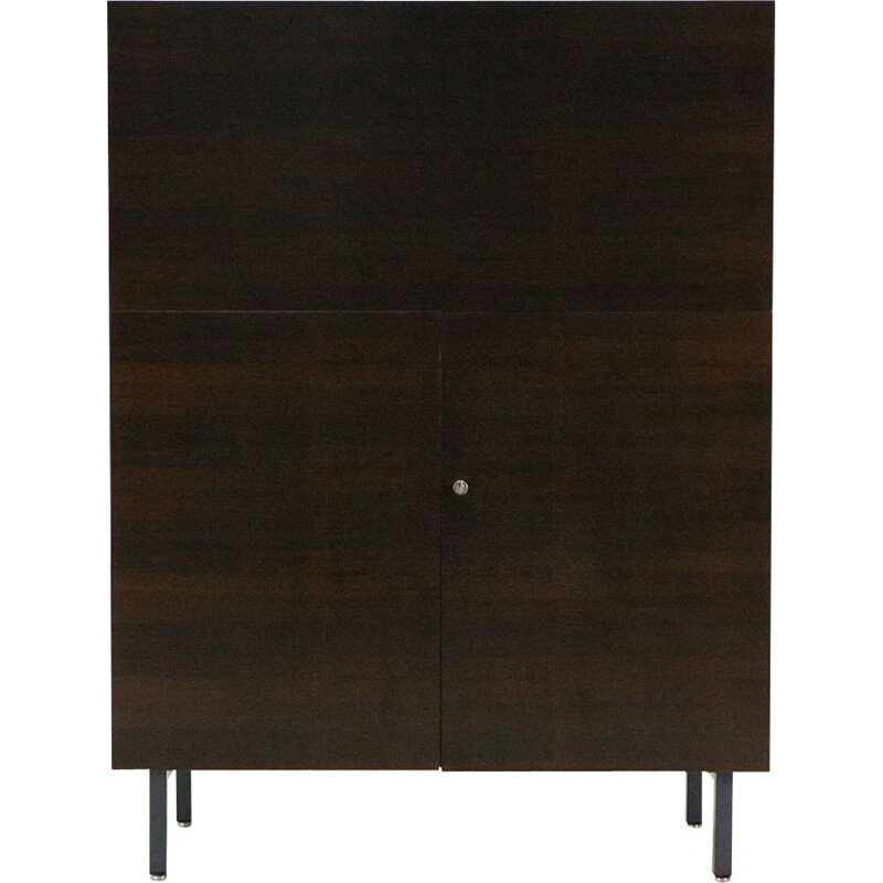 Vintage german office cabinet in dark walnut wood 1960
