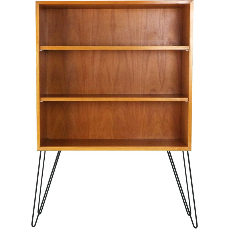 Vintage ashwood and steel bookshelf with hairpin legs 1950