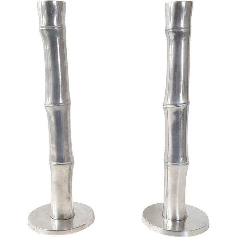 Pair of vintage french candlesticks in bamboo and steel