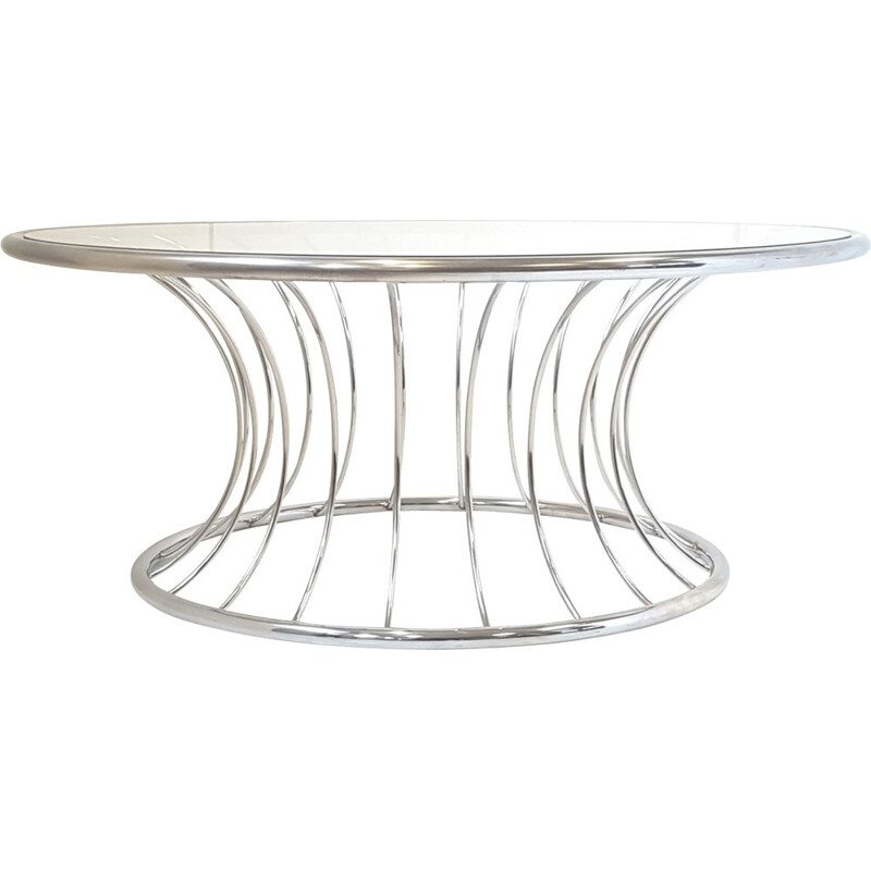 Vintage glass and steel coffee table 1970