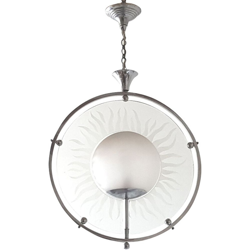 French vintage chandelier in glass and steel 1930