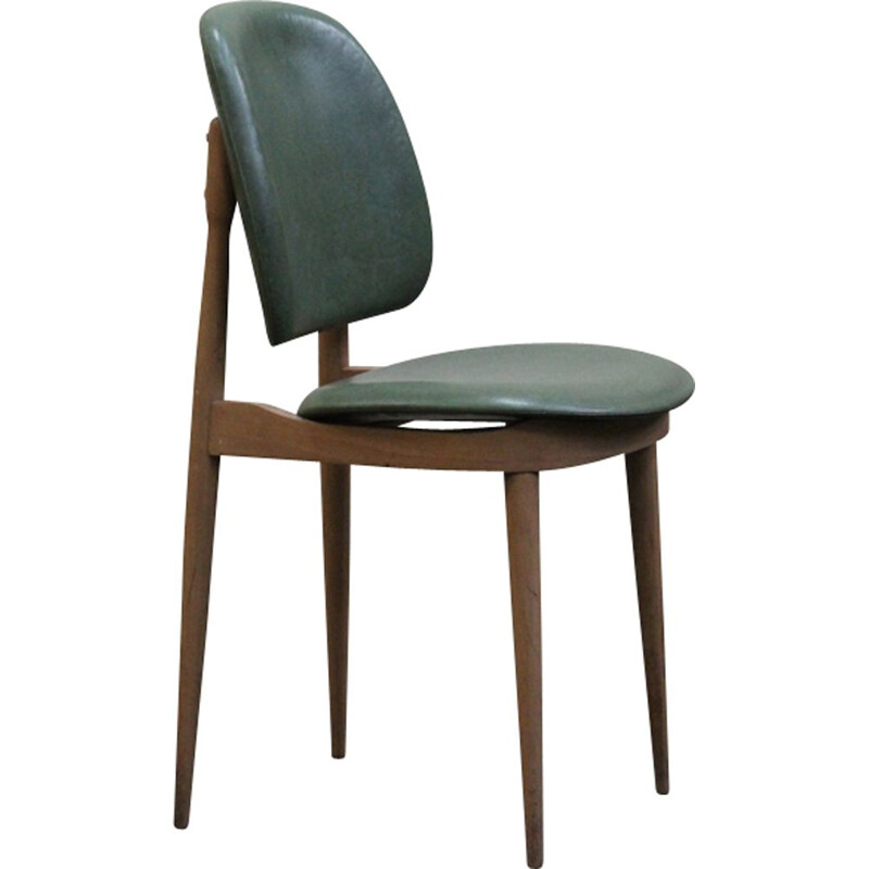 Set of 5 vintage Pegas chairs for Baumann in wood and leatherette