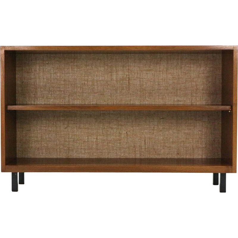 Small vintage library in walnut and steel 1960