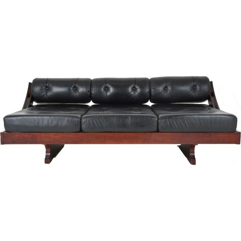 Vintage GS 195 sofa by Songia for Sormani in black leather and rosewood