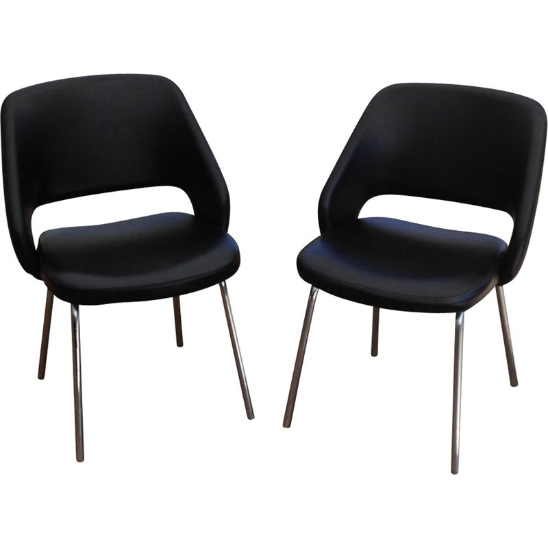 Pair of vintage chairs in black leatherette 1970
