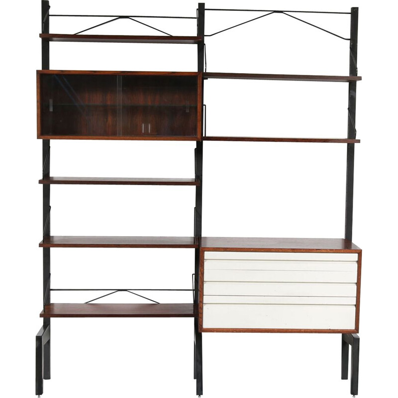 Vintage wall system by Cadovius in metal and rosewood 1960