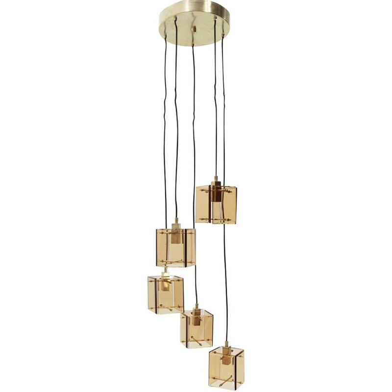 Vintage italian chandelier by Zero Quattro in glass and metal 1950s