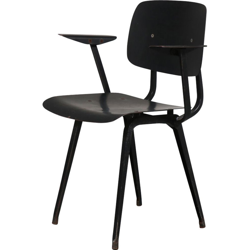Vintage Revolt chair for Ahrend de Cirkel in black metal 1950