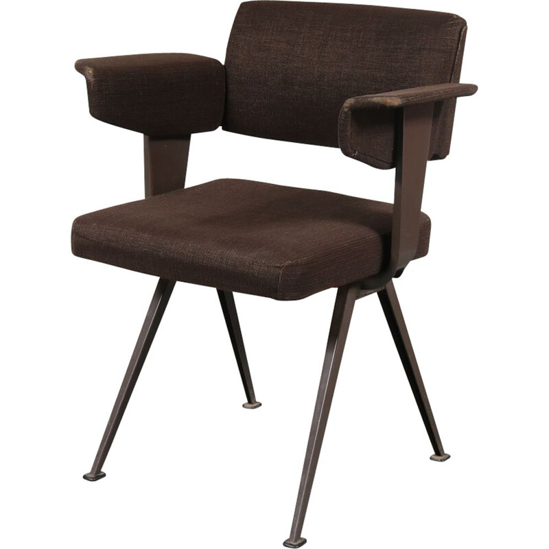 Vintage Resort chair for Ahrend de Cirkel in metal and brown fabric 1950
