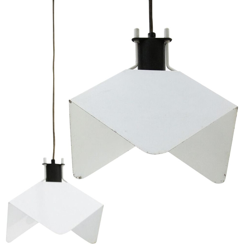 Pair of Triedro pendant lamps by Joe Colombo for Stilnovo