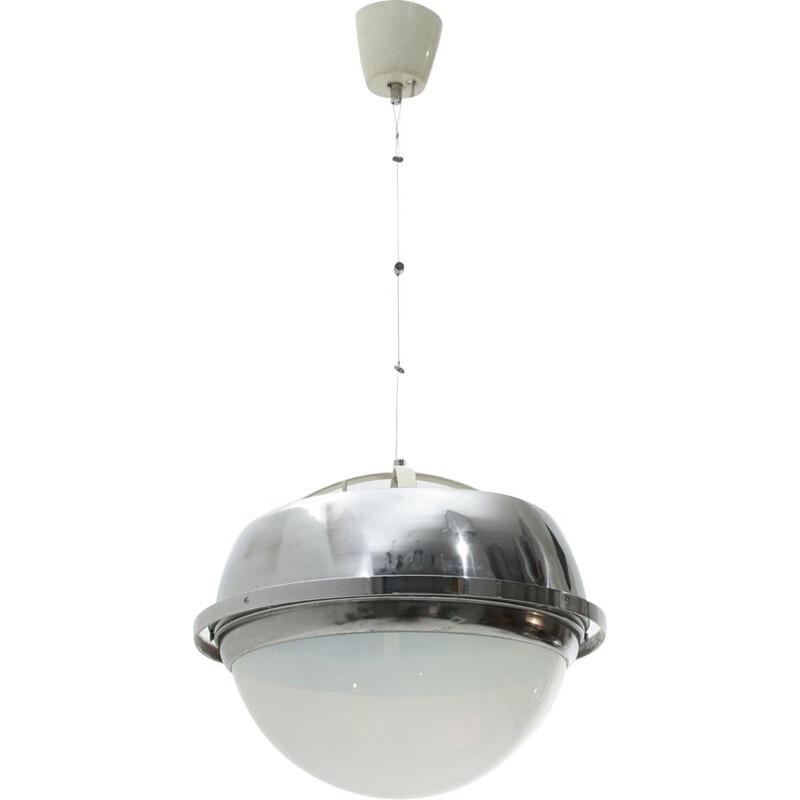 Vintage chromed metal pendant lamp