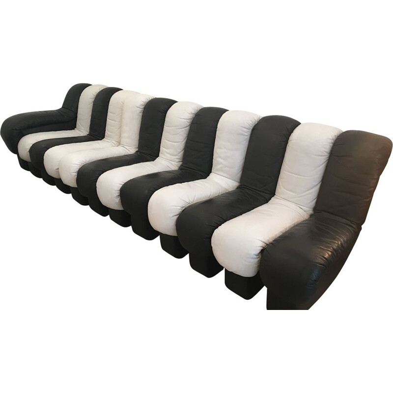Black and white leather sofa by De Sede