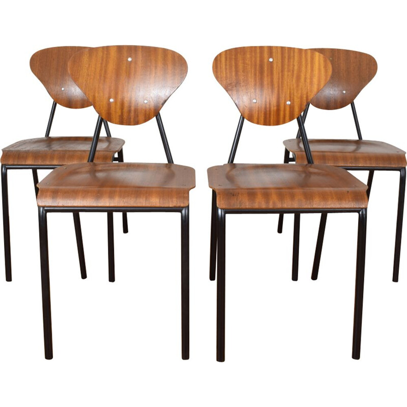 Set of 4 vintage teak and black steel chairs