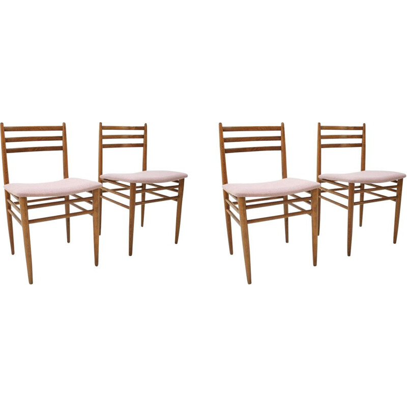 Set of 4 vintage chairs in pink fabric