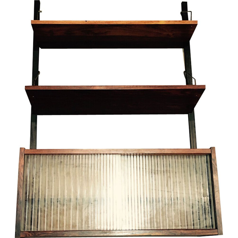 Vintage modular shelf in rosewood and brass