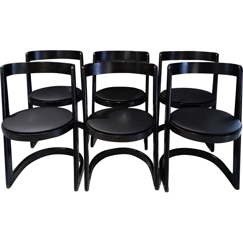 Set of 6 Halfa chairs in black beechwood