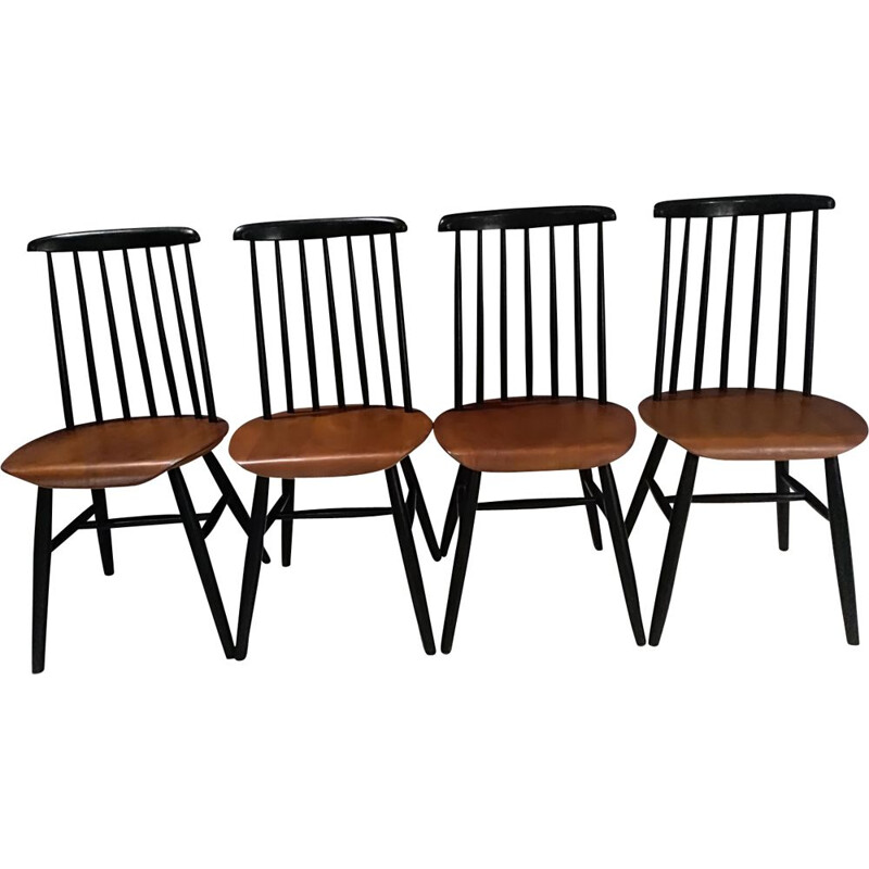 Suite of 4 bicolor Scandinavian chairs 1960