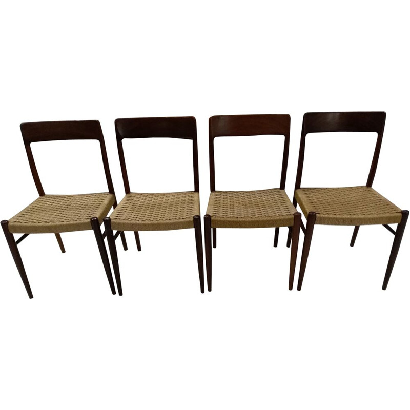 Set of 4 vintage Scandinavian dining chairs by Niels Otto Møller