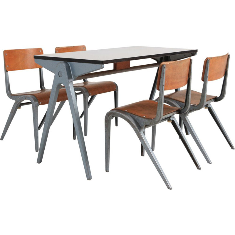 Vintage industrial desk with chairs for kids by James Leonard for Esavian