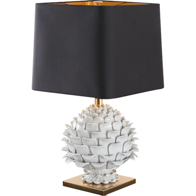 "Vintage table lamp ""Artichoke"" in ceramic and brass"