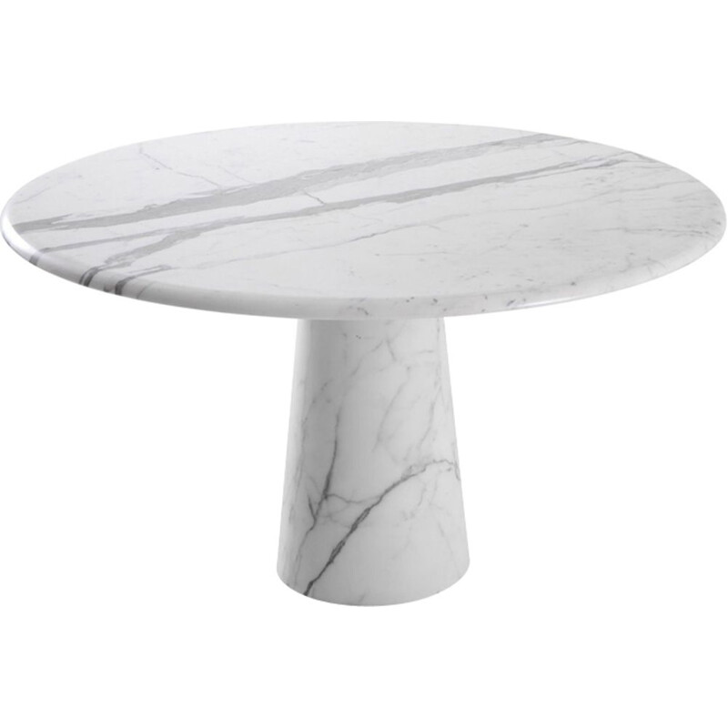 Vintage round Italian dining table in Carrara marble