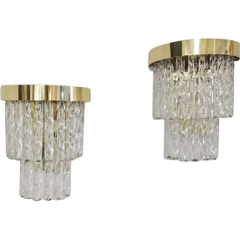 Set of 2 vintage crystal wall lamps