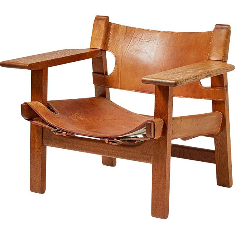 Vintage Spanish armchair in leather and oak by Borge Mogensen