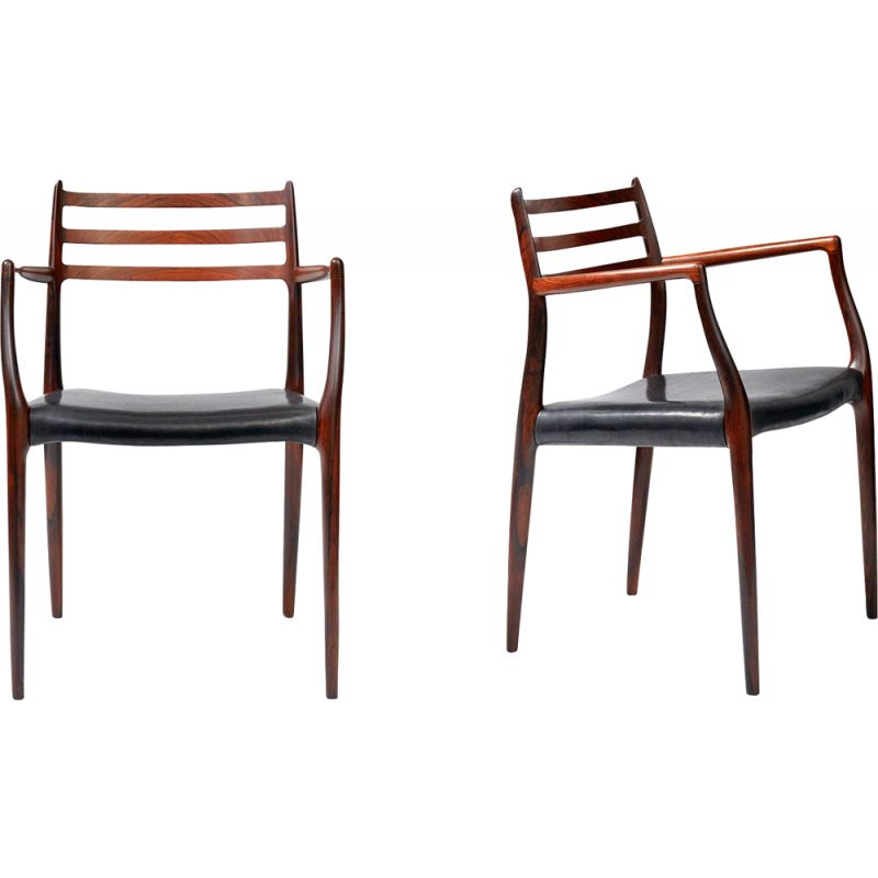 "Set of 2 vintage armchairs ""62"" in rosewood by Niels Moller"