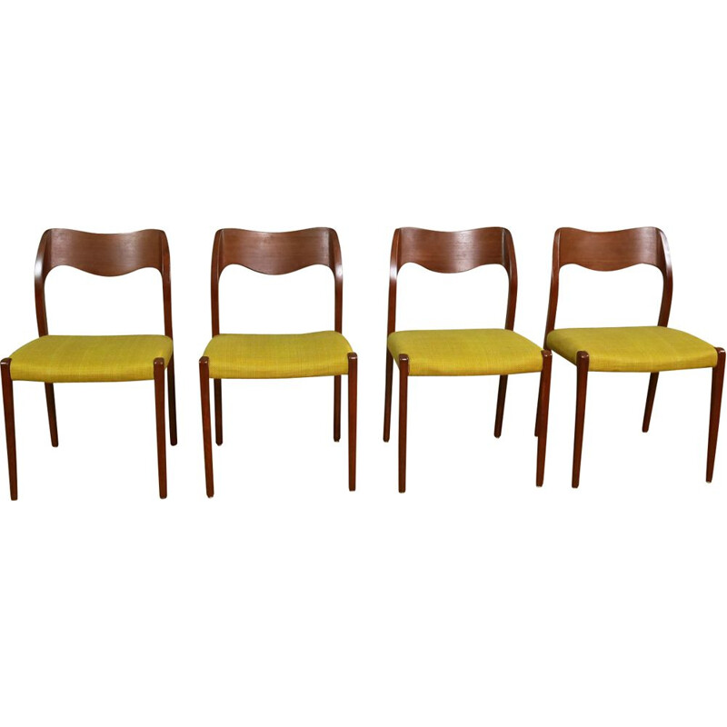 "Set of 4 vintage yellow chairs ""71"" by Niels O. Møller"