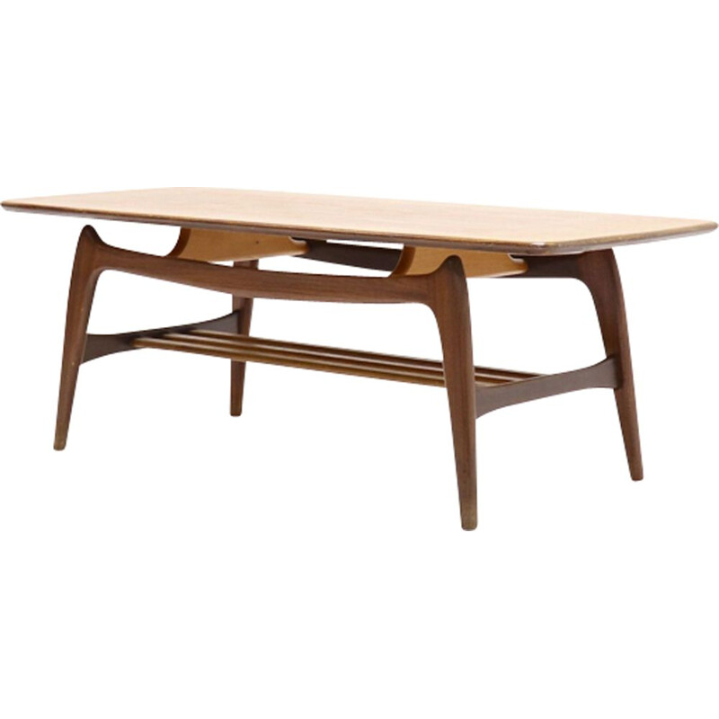 Vintage teak table by Louis van Teeffelen for WeBe 1950