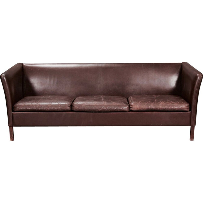 Vintage scandinavian sofa in wood and brown leather 1960