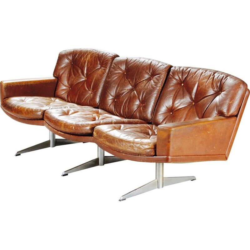 Vintage sofa in leather and chrome 1950