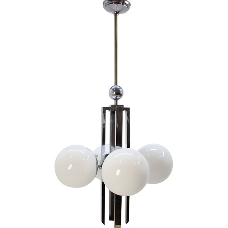 Vintage pendant lamp in glass and chromed metal