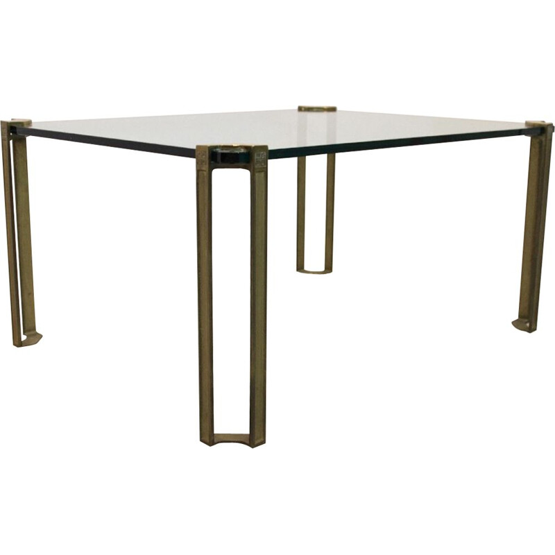 Vintage brass and glass coffee table by Peter Ghyczy