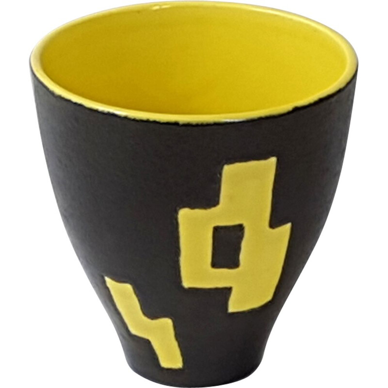 Yellow and black ceramic vase by Elchinger