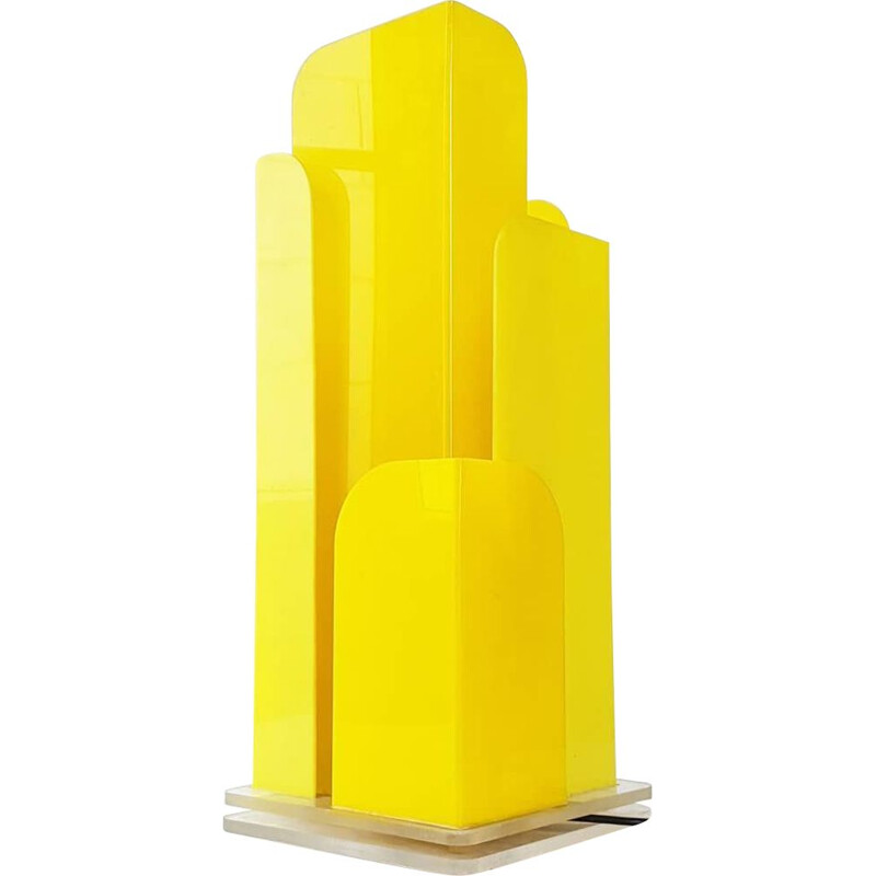 Yellow table lamp in plexiglas