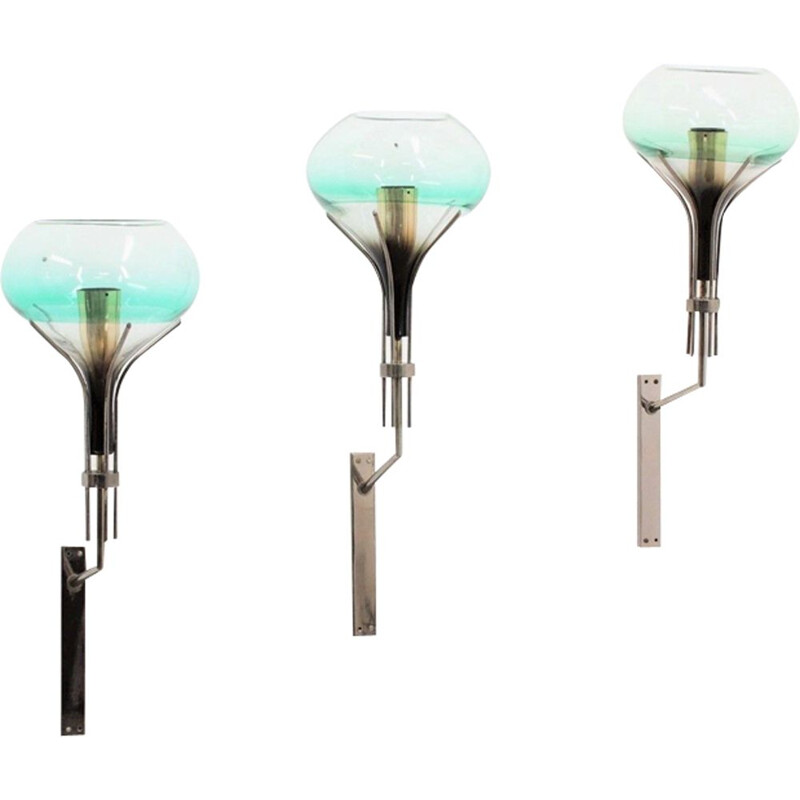 Set of 3 wall lamps in Murano glass by Seguso