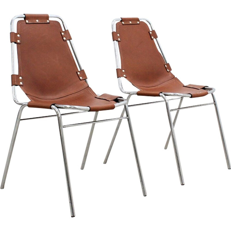 "Set of 2 vintage chairs ""Les Arcs"" for Charlotte Perriand"
