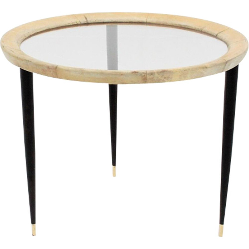 Vintage round Italian coffee table by Aldo Tura