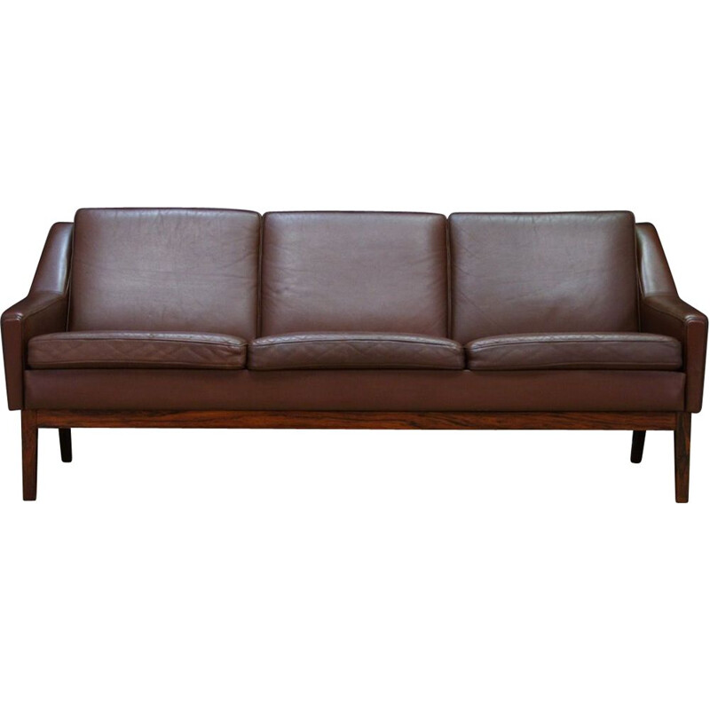 Vintage Danish 3-seater sofa in leather