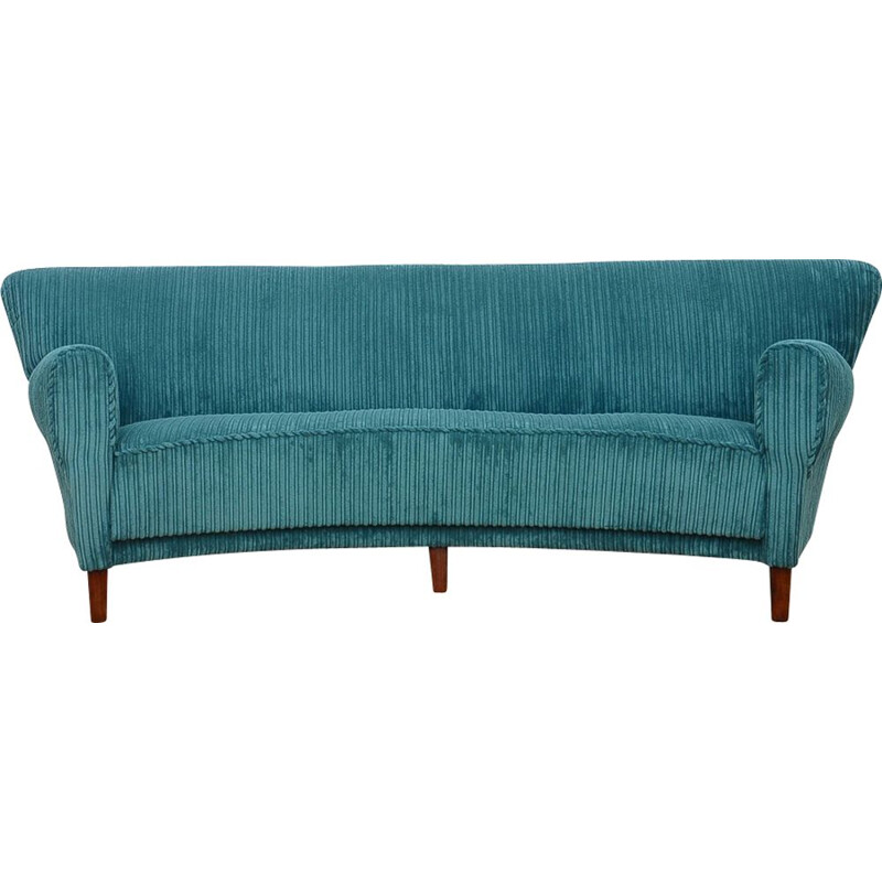 "Vintage blue 3-seater sofa ""Banana"""