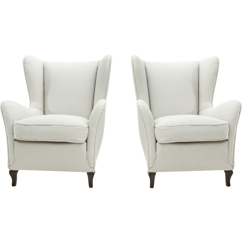 Set of 2 vintage Italian armchair in white fabric