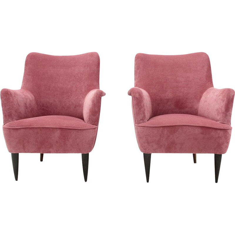 Set of 2 vintage Italian armchairs in pink velvet