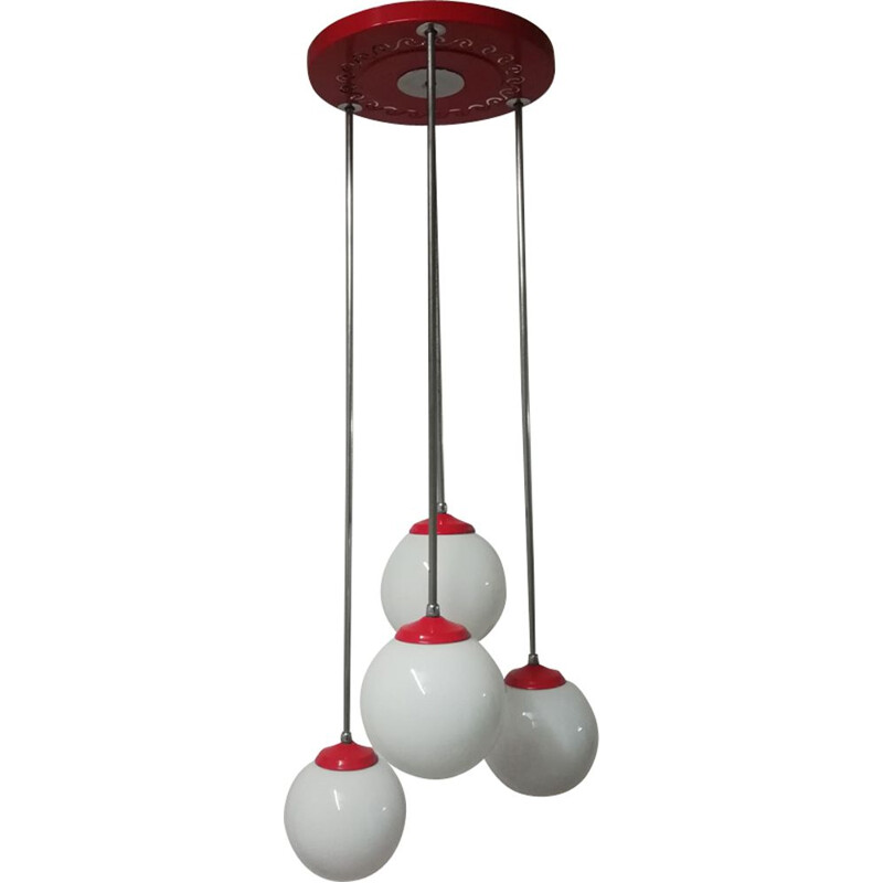 Vintage red ceiling lamp in chromed metal