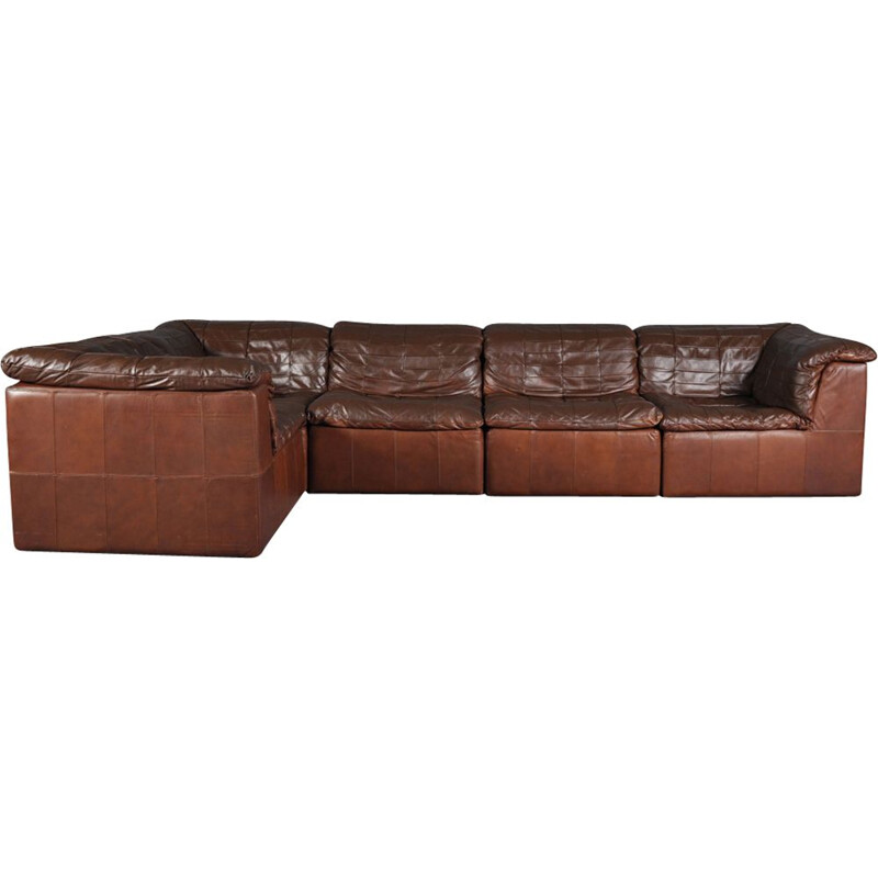 Vintage cognac leather patchwork modular sofa from Laauser