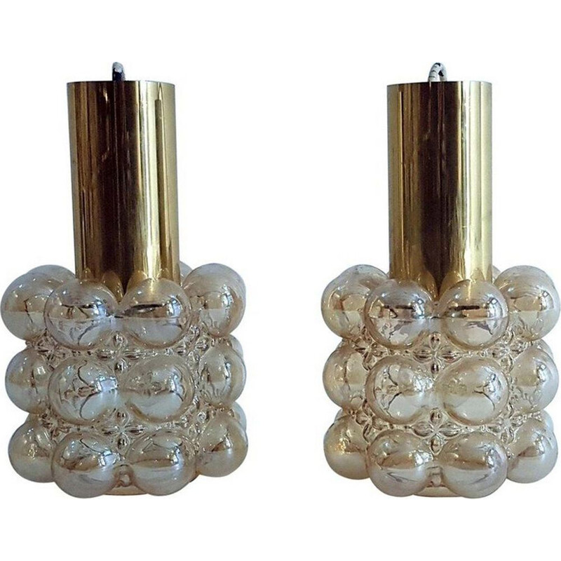 Set of 2 vintage limburg bubble hanging lamp by Helena Tynell