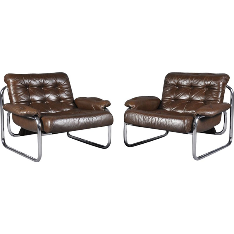 Set of 2 vintage leather lounge chairs by Johan Bertil Häggström for Ikea