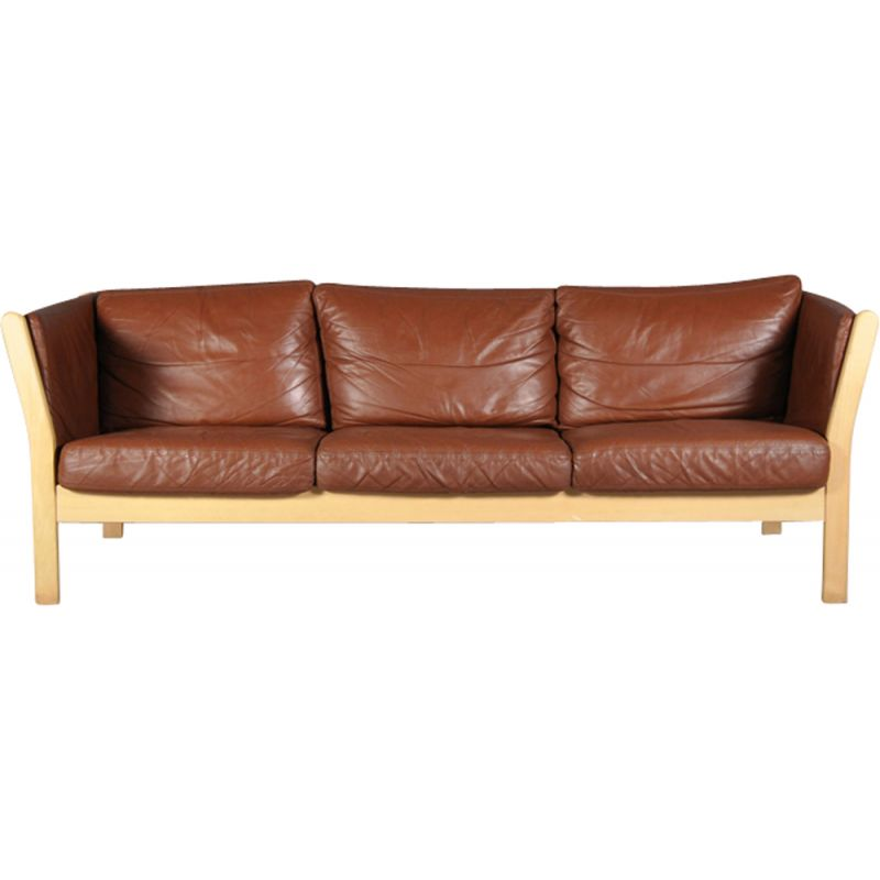 Vintage Danish Cognac Leather Sofa From Stouby