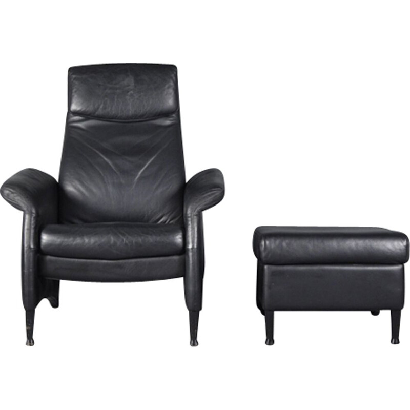Vintage black leather recliner and ottoman by Walter Knoll